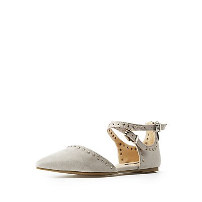 Studded Strappy Pointed Toe Flats