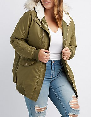 Plus Size Faux Fur-Trim Hooded Bomber Jacket