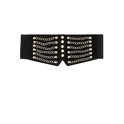 Chain-Trim Stretch Waist Belt