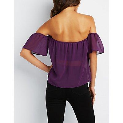 Off-The-Shoulder Flutter Sleeve Top