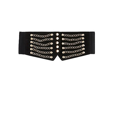 Chain-Trim Stretch Waist Belt