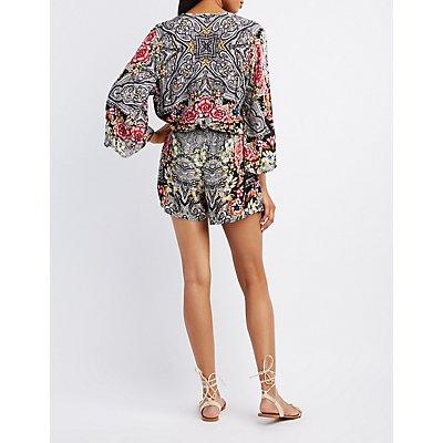 Tropical Print Kimono Sleeve Surplice Romper