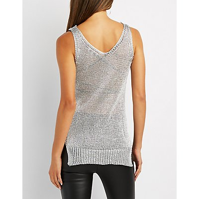 Metallic Open Knit Tunic