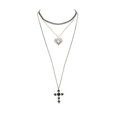 Plus Size Embellished Choker &  Pendant Necklaces - 3 Pack