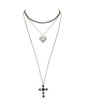 Plus Size Embellished Choker &  Pendant Necklaces - 3 Pack