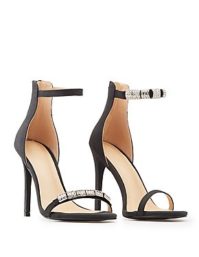 Embellished Faux Nubuck Two-Piece Dress Sandals