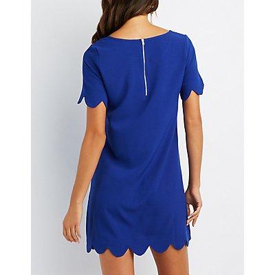 Scalloped-Trim Shift Dress