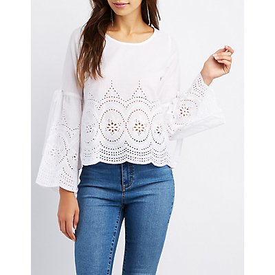Eyelet Bell Sleeve Top
