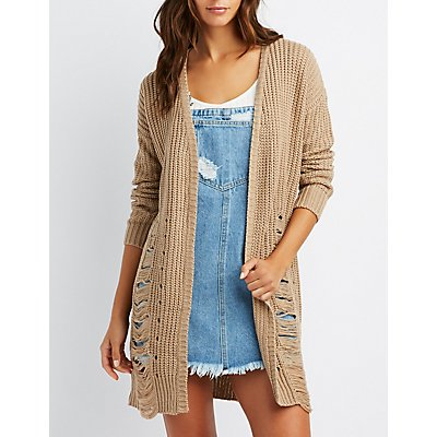 Destroyed Open-Front Shaker Stich Cardigan