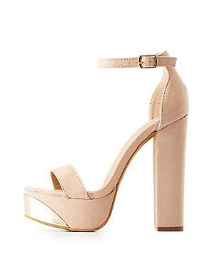 Gold-Trim Two-Piece Platform Sandals