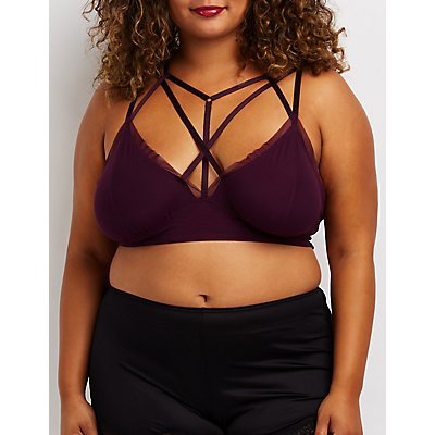 Plus Size Caged Mesh-Trim Bralette