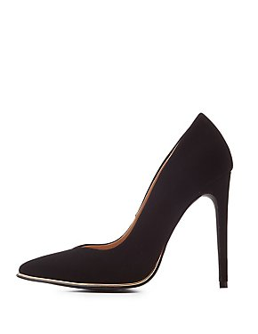 Faux Nubuck Pointed Toe Pumps