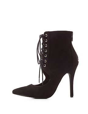 Lace-Up Pointed Toe Ankle Boots