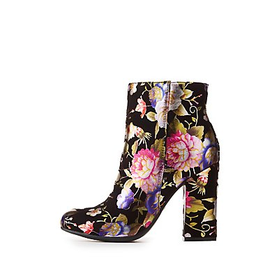 Bamboo Floral Print Ankle Booties