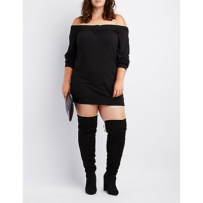 Plus Size Off-The-Shoulder Pocket Sweatshirt