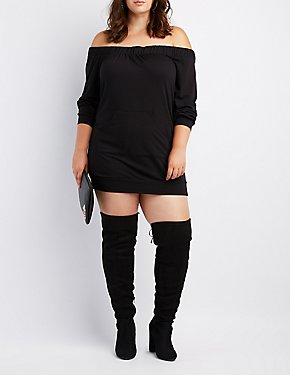 Plus Size Off-The-Shoulder Pocket Sweatshirt Dress