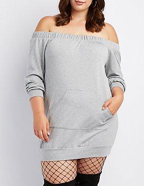 Plus Size Off-The-Shoulder Sweatshirt Dress