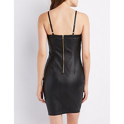 Faux Leather Lace-Up Bodycon Dress
