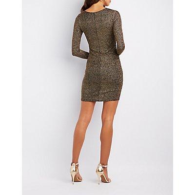 Glitter V-Neck Bodycon Dress