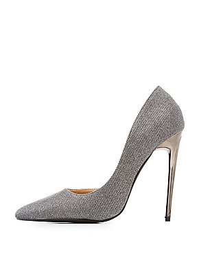 Glitter D'Orsay Pointed Toe Pumps