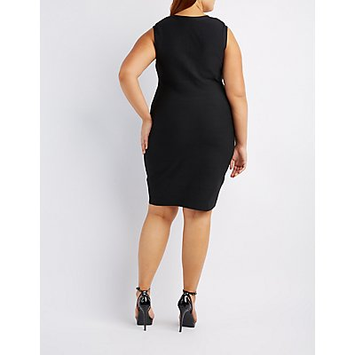 Plus Size Zip-Front Bandage Bodycon Dress