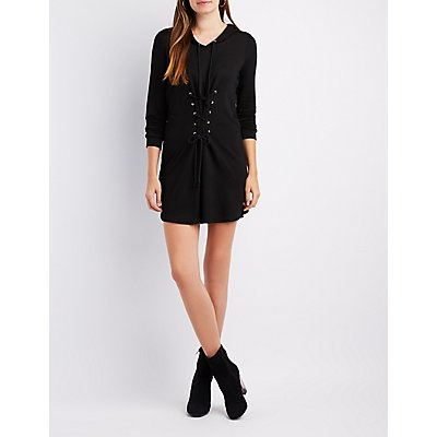 Lace-Up Detail Hooded Sweatshirt Dress