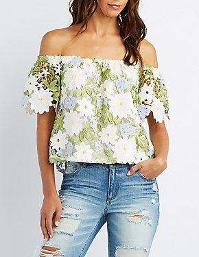 Floral Crochet Off-The-Shoulder Top