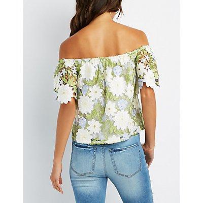 Floral Crochet Off-The-Shoulder Top