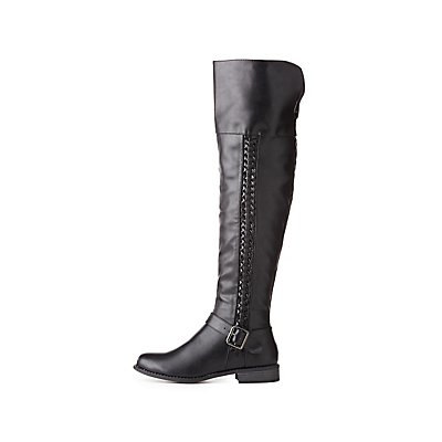 Braided-Detail Riding Boots