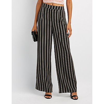 Pinstripe Wide-Leg Pants