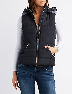 Combo Quilted Puffer Vest