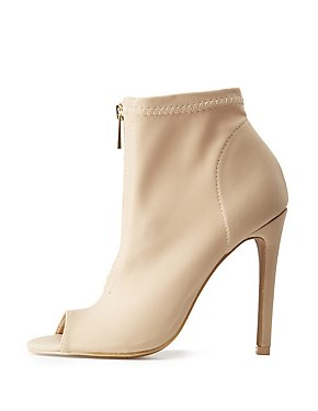 Zip-Up Peep Toe Booties