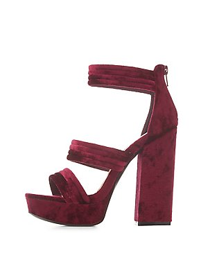 Velvet Three-Piece Platform Sandals