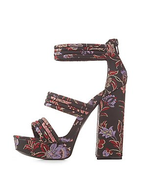 Brocade Three-Piece Platfrom Sandals