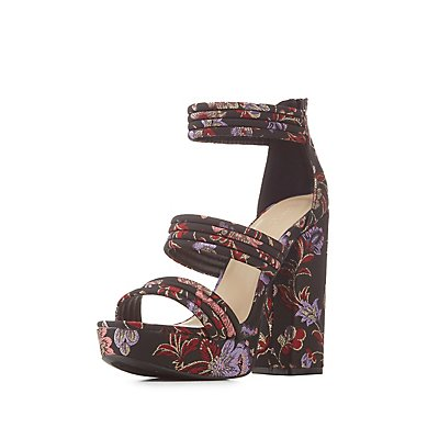 Brocade Ankle Strap Platfrom Sandals