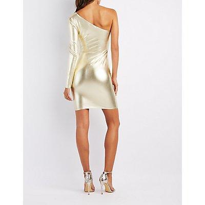 Metallic One-Shoulder Bodycon Dress