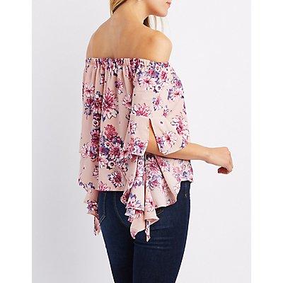 Floral Off-The-Shoulder Cascade Sleeve Top
