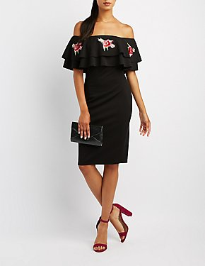 Floral Embroidered Ruffle Off-The-Shoulder Dress