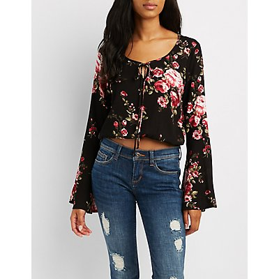 Floral Bell Sleeve Tie-Front Top