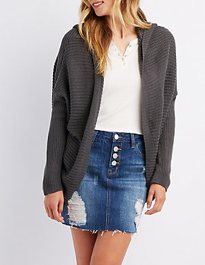 Shaker Stitch Lace-Up Back Hooded Cardigan