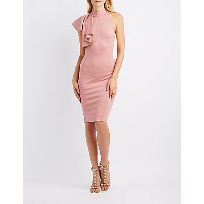 Mock Neck Ruffle Bodycon Dress