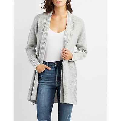 Shaker Stitch Open Front Cardigan
