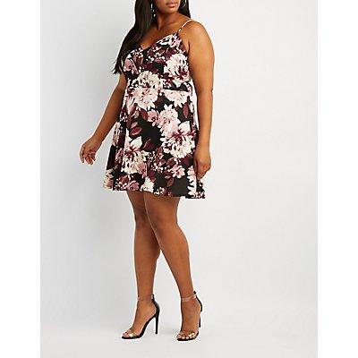 Plus Size Floral Notched Skater Dress