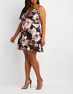 b8647cf04cf Plus Size Floral Notched Skater Dress
