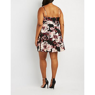 Plus Size Floral Notched Skater Dress
