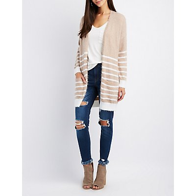 Striped Open-Front Cardigan