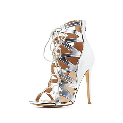 Metallic Caged Lace-Up Dress Sandals