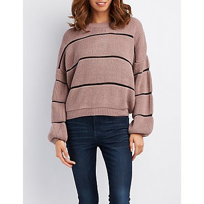 Striped Shaker Stitch  Sweater