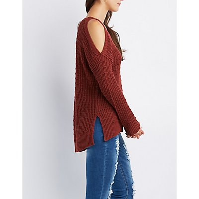 Open-Knit Cold Shoulder Sweater