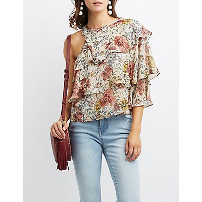 Floral Ruffle One-Shoulder Top